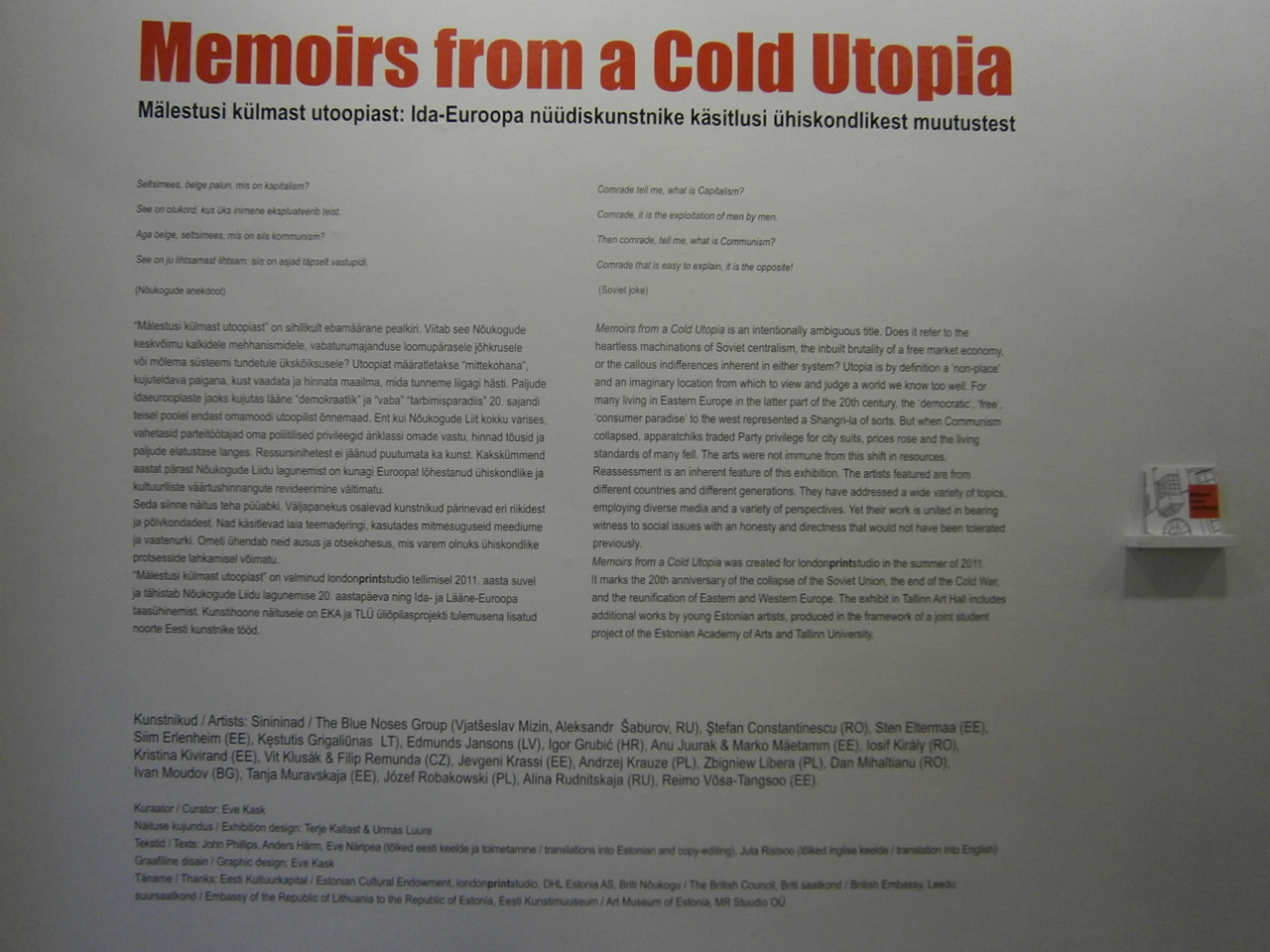 memoirs from a cold utopia at tallinn art hall cuisine of life as